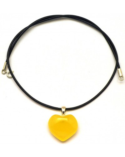 Heart shape Baltic amber  pendant with leather strap